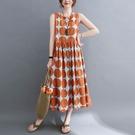 棉麻波點印花背心洋裝-中大尺碼 獨具衣格 J3716