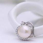 925純銀耳環珍珠(耳針式)-心型高雅個性生日情人節禮物女飾品73ah57【巴黎精品】
