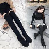 長靴女過膝 新款秋冬季百搭高跟小辣椒長筒靴子粗跟黑色  靴  科炫數位