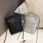 側背包 小包包女2020新款潮韓版菱格鍊條包單肩手機包