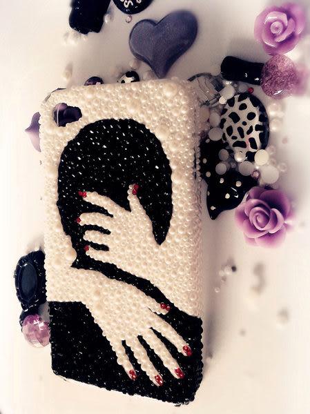 ♥ 俏魔女美人館 ♥ HTC Butterfly S【手工水鑽擁抱*硬殼】保護殼 保護套 手機殼 手機套