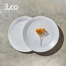 【3,co】水波麵包盤(2件式) - 白+白
