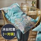 夏季冰絲枕套一對裝枕頭套單人枕芯內膽套網紅款夏天家用兒童涼爽 一米陽光
