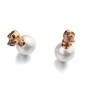 耳環 玫瑰金 925純銀鑲鑽-骷顱珍珠生日情人節禮物女飾品2色73gs241【時尚巴黎】