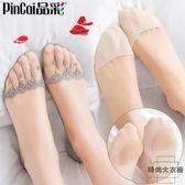 4雙 船襪女蕾絲襪子純棉襪底淺口全隱形薄款硅膠防滑【時尚大衣櫥】