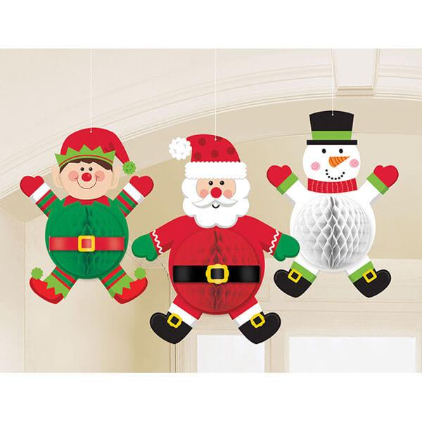 聖誕節 裝飾 佈置 蜂巢球吊飾3入-聖誕人物