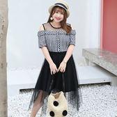 中大尺碼~優雅格子拼接短袖洋裝(XL~4XL)