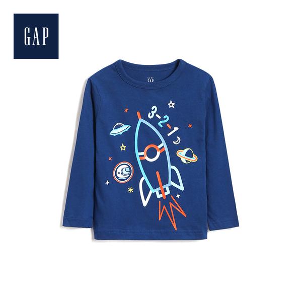 Gap男幼童柔軟妙趣圖案圓領長袖T恤496420-藍色