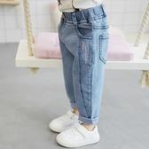 女童牛仔褲春秋兒童洋氣外穿2020新款小童秋裝女寶寶加絨秋冬褲子  【端午節特惠】