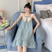 睡衣 吊帶睡裙女夏季薄款純棉可愛少女學生帶胸墊睡衣過膝無袖大碼長款