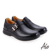 A.S.O 厚切超動力 金屬釦氣墊休閒皮鞋 黑