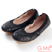 G.Ms.*旅行女孩II-亮片鬆緊口可攜式軟Q娃娃鞋(附鞋袋)*閃耀黑