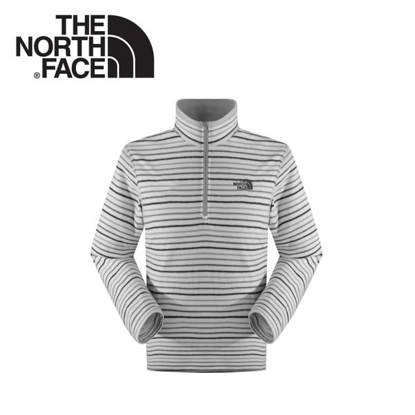 【The North Face 男 刷毛套頭衫 灰白條紋】CUN0A/刷毛衣★滿額送