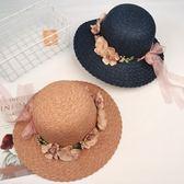 遮陽帽 韓版大沿沙灘帽草帽花環夏天防紫外線帽子防曬太陽帽