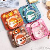 創意竹纖維兒童餐具吃飯餐盤分隔格嬰兒飯碗寶寶輔食碗叉勺子套裝  橙子精品