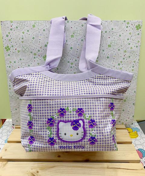 【震撼精品百貨】Hello Kitty 凱蒂貓~Sanrio HELLO KITTY手提袋/肩背袋-紫花#11118