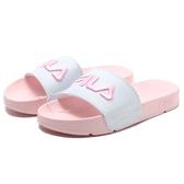 FILA (偏小建議大半號) 拖鞋 刺繡LOGO 白粉紅 (布魯克林) 4S313T515