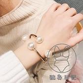 日韓個性時尚珍珠開口手鐲潮百搭彈簧手環衣服袖口配飾品女【貼身日記】