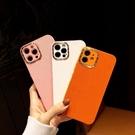 奢華橙色高檔皮質適用蘋果12手機殼11promax歐美大牌Xsmax全包鏡頭iPhoneX少女粉XR網紅12pro潮印花7plus