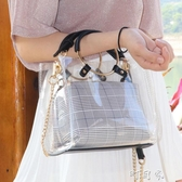 夏天透明果凍包包女潮韓版百搭迷你單肩斜背小包 交換禮物
