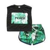童裝兒童短袖T恤女童沙灘短褲男童兩件套潮