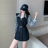 秋裝2021新款收腰繫腰帶氣質無袖西裝馬甲外套韓版寬鬆馬夾上衣女  伊蘿