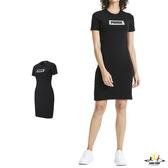 Puma Summer 女 黑 短袖 連身裙 連身上衣 連身裙 長板T桖 運動 休閒 棉質 短袖 58417001