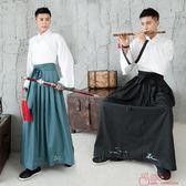 原創設計 日常漢服男傳統繡花交領套連身裙武俠風 「爆米花」
