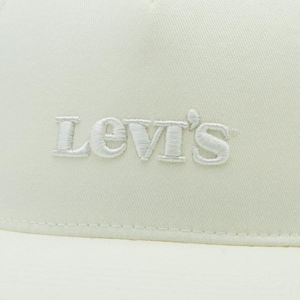 Levis 男女同款 可調式環釦棒球帽 / FLEXFIT 110吸濕排汗 / 精工同色刺繡Logo / 白