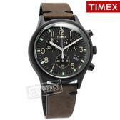 TIMEX 天美時 / TXTW2R96500 /  復古潮流 INDIGLO專利照明 三眼計時 日期 真皮手錶 黑x深褐 42mm