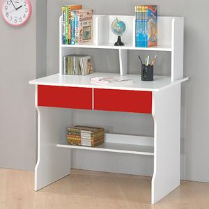 【TZUMii】雙抽書架式書桌-(兩色可選)紅配白
