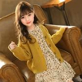 兒童開衫毛衣2019秋冬新款韓版女童復古針織衫中大童寶寶外套洋氣
