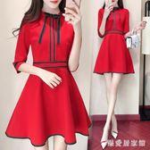小禮服秋裝新款洋裝大紅色回門禮服裙子敬酒服新婚禮聚會修身顯瘦裙子 QG10446『樂愛居家館』
