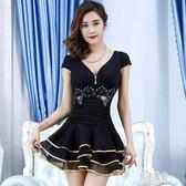 性感連身裙新款春夏季修身遮肚低胸大碼A字裙夜店洋裝女裝 LR8953【原創風館】