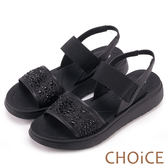 CHOiCE 親膚舒適 雙材質拼接鑽飾真皮厚底涼鞋-黑色