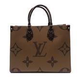 【台中米蘭站】全新品 Louis Vuitton ONTHEGO MM 手提肩背二用包(M45321-咖)