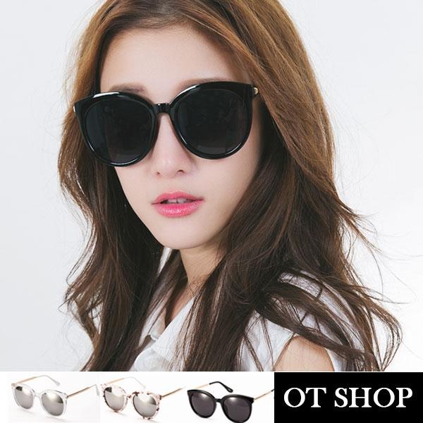 OT SHOP太陽眼鏡‧英倫潮流金屬大圓框墨鏡‧黑色/黑反光/大理石紋/粉色貝殼紋‧現貨四色NH42