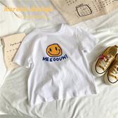 橙子童裝2020年新款兒童男女童韓版洋氣短袖T恤棉質笑臉T恤寬鬆