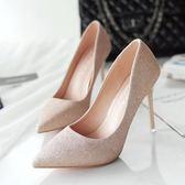 尖頭高跟鞋 女鞋秋季韓版單鞋女亮片細跟低幫鞋婚鞋《小師妹》sm2176