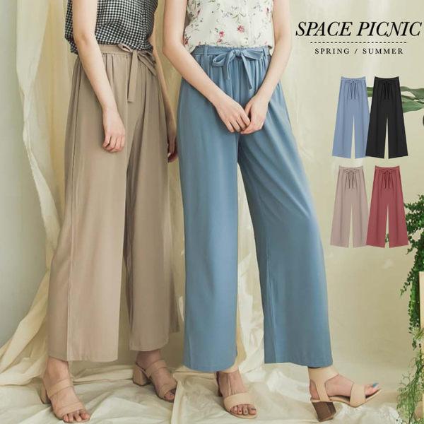 寬褲 Space Picnic|預購.素面鬆緊帶寬褲(附綁帶)【C18033016】