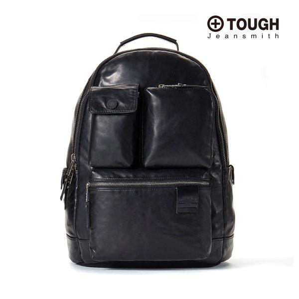 【TOUGH】霧面皮革大容量後背包(黑)