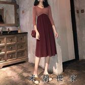 收腰顯瘦V領中袖撞色拼接連身裙