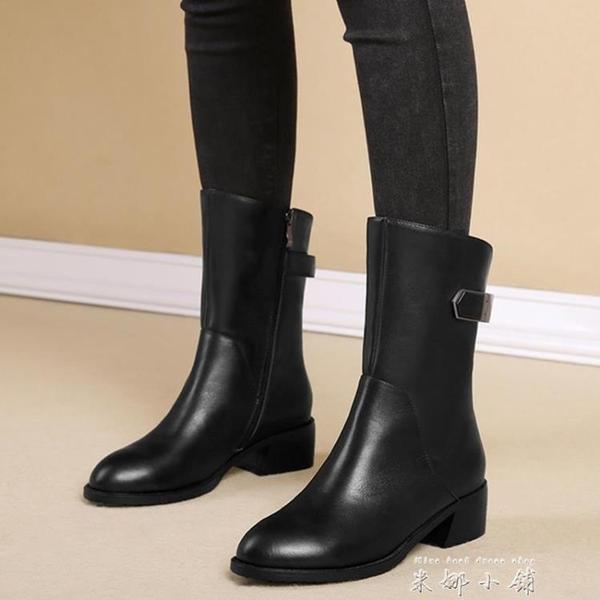 雪地意爾康2021秋冬新款真皮粗跟平底短靴歐美中筒靴馬丁靴女靴子
