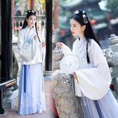 傳統漢服女裝中國風非古裝清新淡雅清韻蘭花刺繡雙層交領襖裙秋冬洋裝 週年慶降價