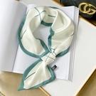 長條懶人小絲巾女菱形韓國百搭脖子裝飾領巾秋季薄款綠色飄帶圍巾 『新佰數位屋』