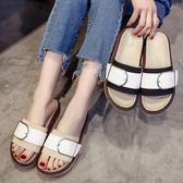 涼拖女夏季新款韓版百搭時尚厚底皮帶扣一字拖沙灘鞋鬆糕拖鞋 一米陽光