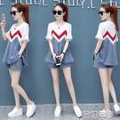 套裝網紅休閒套裝女時尚韓版夏裝新款女裝夏季牛仔短褲兩件套 快速出貨