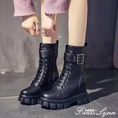 網紅馬丁靴春秋女鞋瘦瘦2020百搭中筒靴子厚底內增高英倫風短靴潮 范思蓮恩