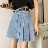 百摺裙夏季新款裙子設計感小眾a字短裙高腰顯瘦不規則牛仔半身裙女 JUST M