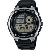 CASIO 卡西歐 10年電力世界時間手錶-黑 AE-2100W-1AVDF / AE-2100W-1A
